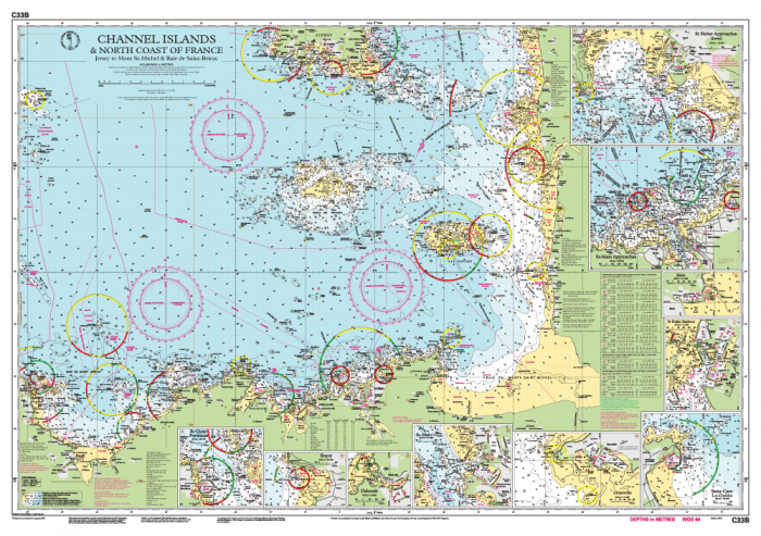 Map Of Northern France Coastline.C33b Channel Islands And North Coast Of France Imray Chart