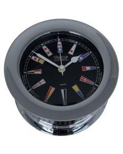Weems & Plath Chrome Atlantis Quartz Clock Black Color Flag Dial