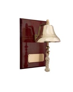 6-Inch Brass Bell Mounted on 9x12-Inch High Gloss Mahagony Plaque with brass plate